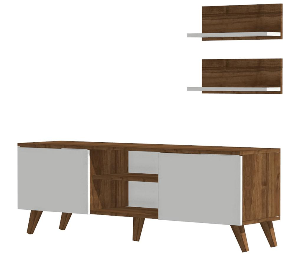 Set comoda TV si 2 rafturi de perete Monde - DMODUL, Alb imagine