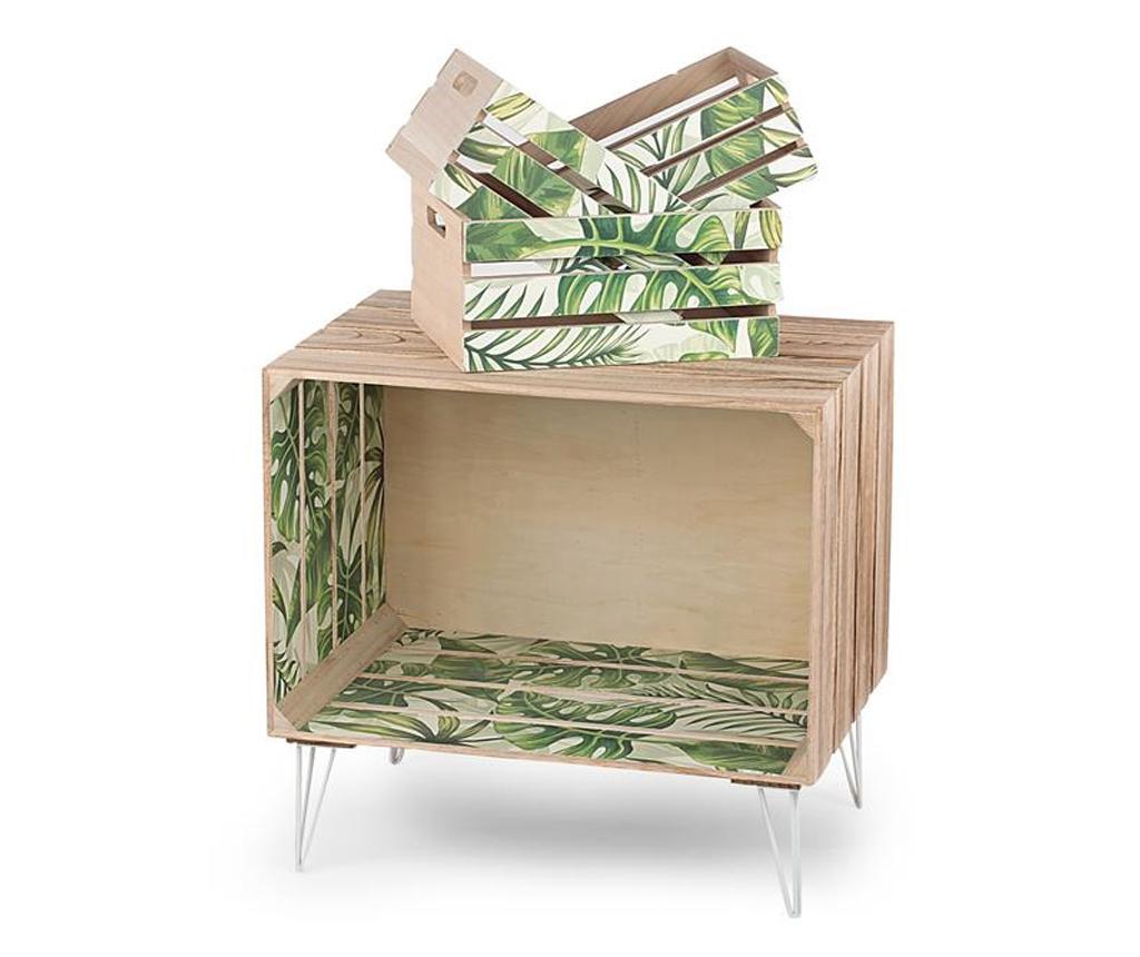Set masuta si 3 lazi pentru depozitare Palm Leaves - Disraeli, Multicolor imagine