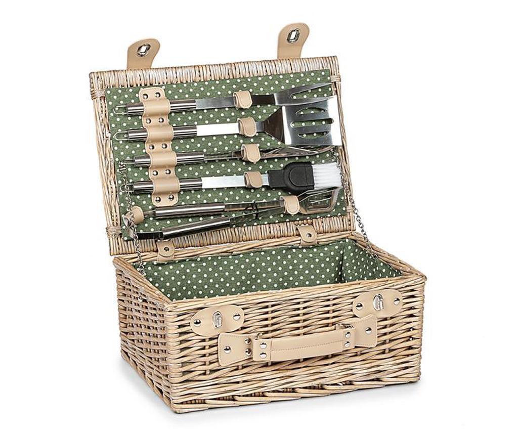 Set cos pentru picnic si 5 ustensile pentru gratar Tonya - Disraeli, Crem imagine