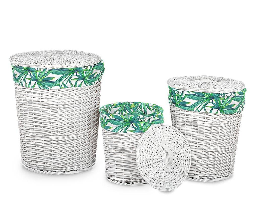 Set 3 cosuri cu capac pentru rufe Tropical - Disraeli, Alb imagine