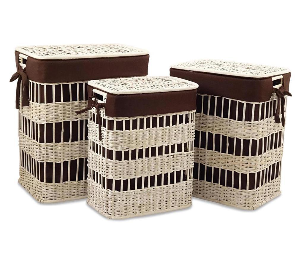 Set 3 cosuri cu capac pentru rufe Phoebe - Disraeli, Maro imagine