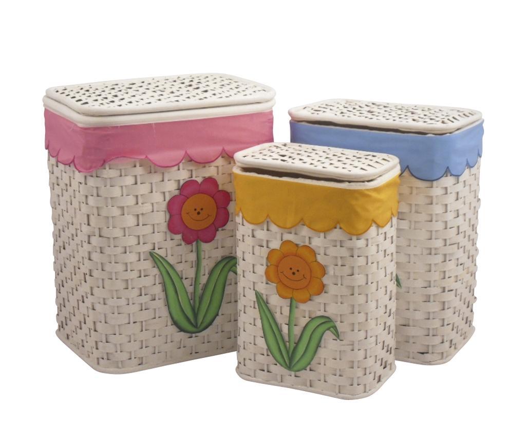 Set 3 cosuri cu capac pentru rufe Flowers vivre.ro