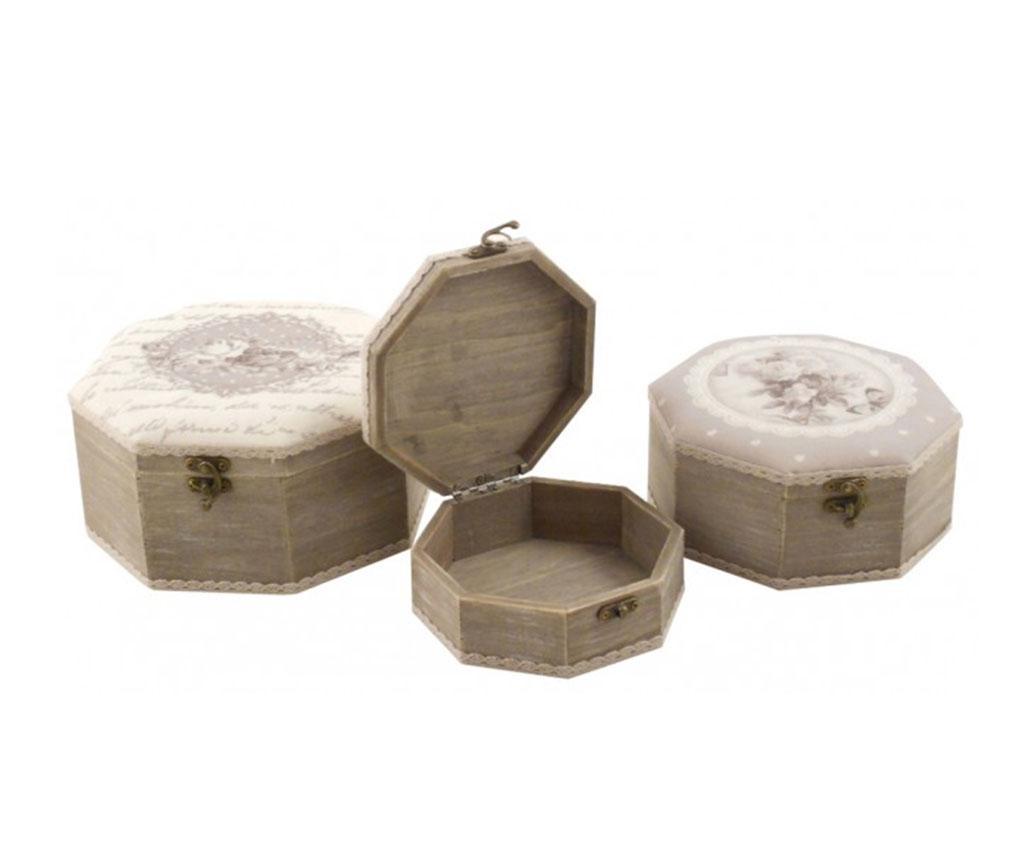 Set 3 cutii cu capac Romantic - Disraeli, Gri & Argintiu imagine