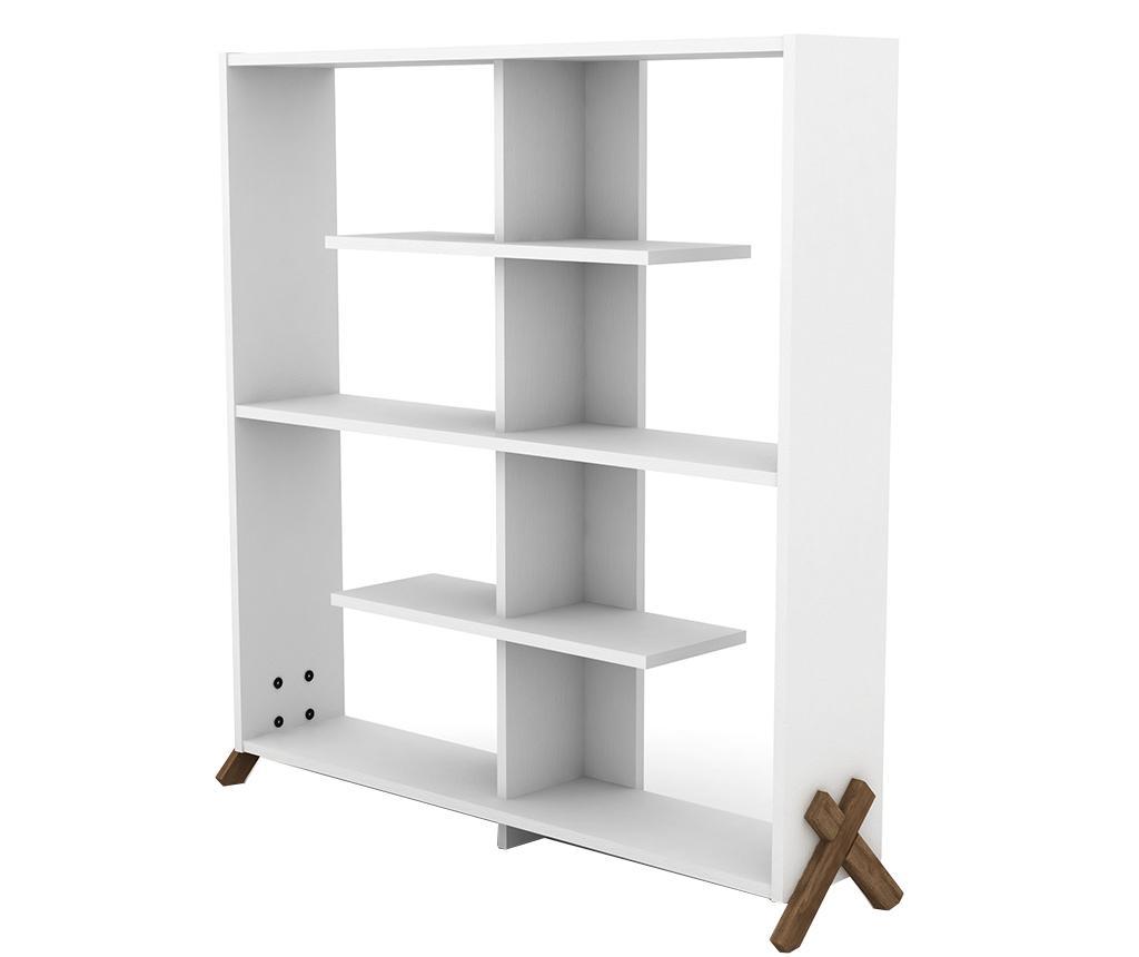 Biblioteca Kipp Walnut White - Rafevi, Alb