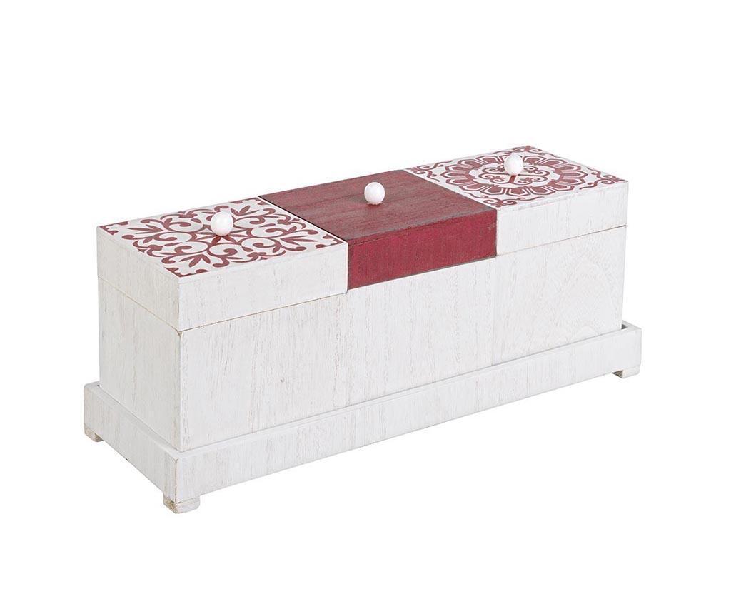 Set 3 cutii cu capac pentru depozitare si suport Barcellona - Bizzotto, Alb
