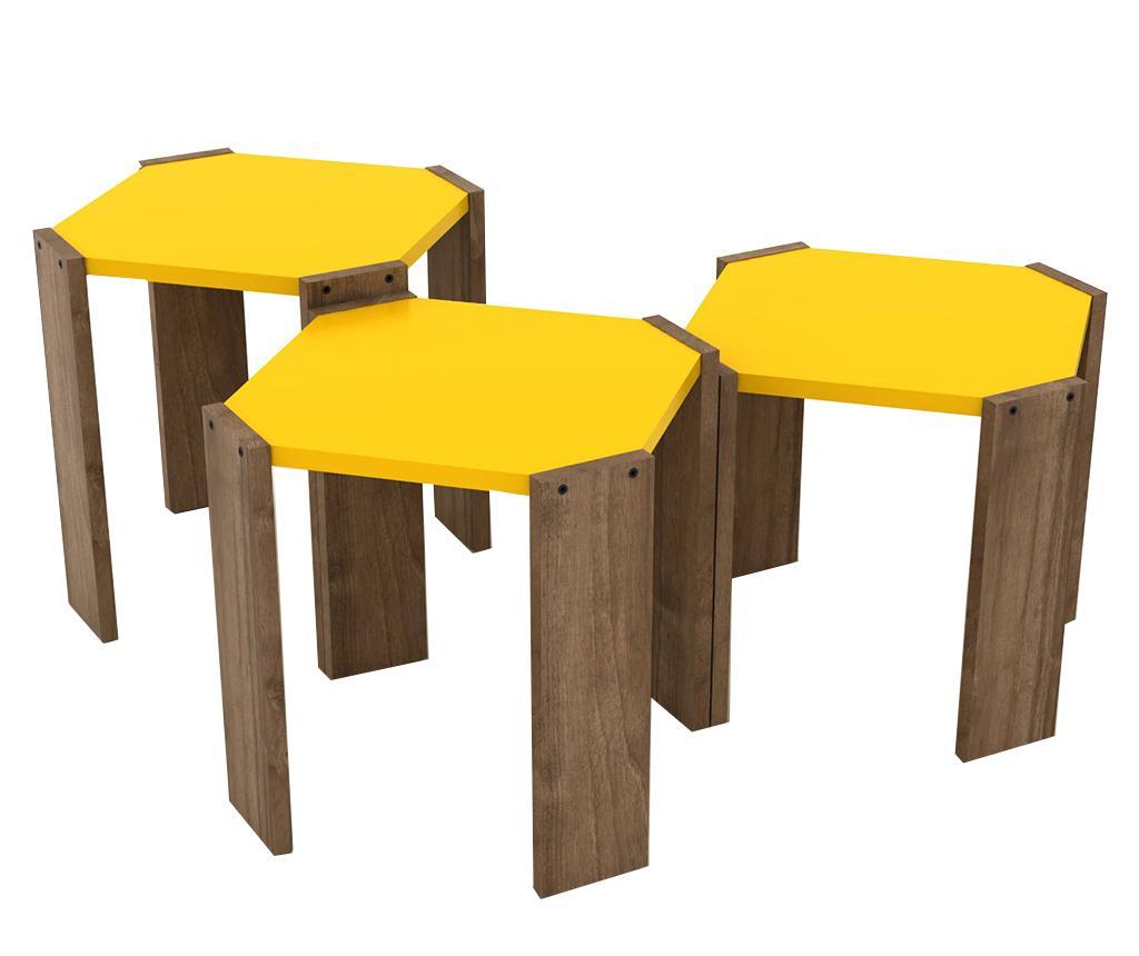 Set 3 masute Rafevi Hansel Walnut Yellow