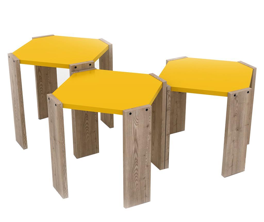 Set 3 masute Rafevi Hansel Oak Yellow imagine