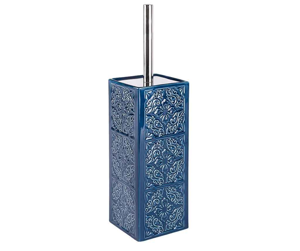 Perie de toaleta cu suport Cordoba Dark Blue - Wenko, Albastru poza