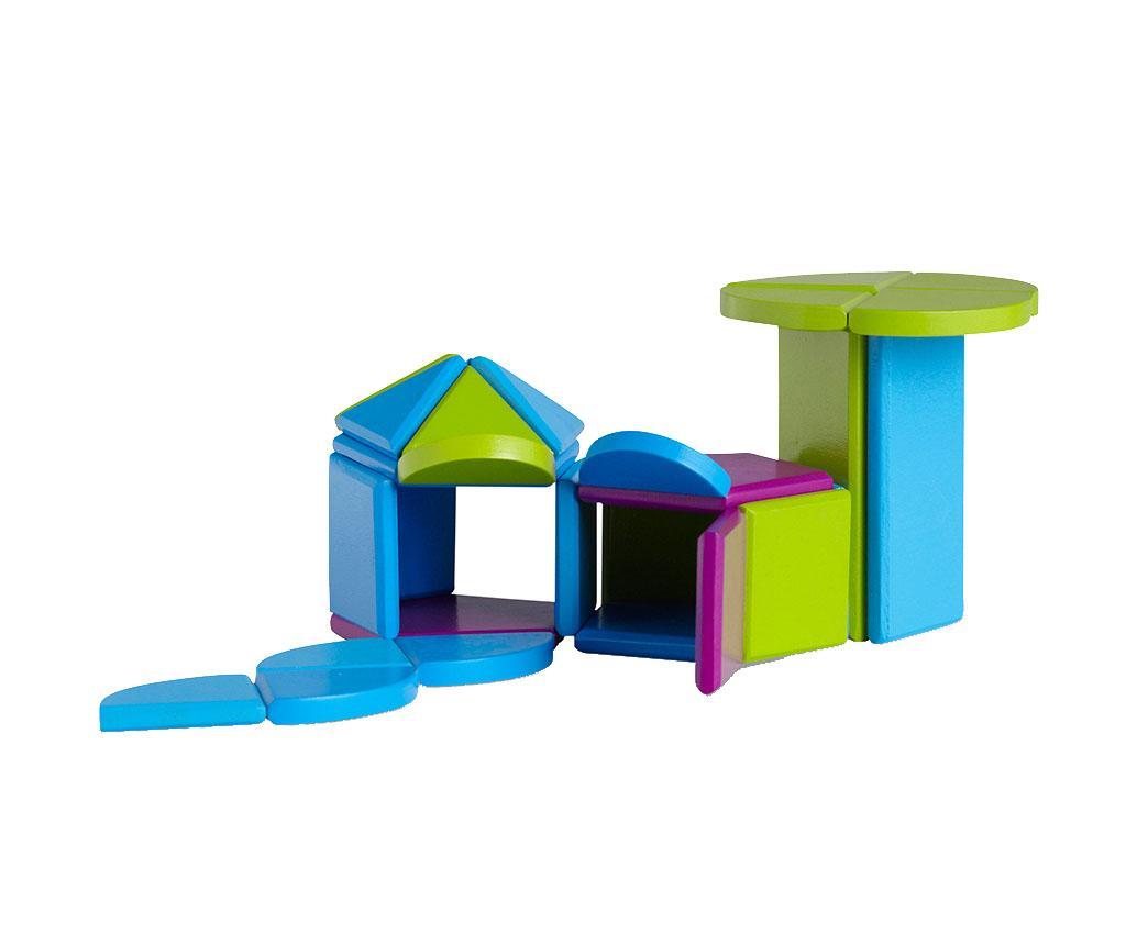 Set de construit 31 piese Magnet Blocks Summer House - BS Toys, Multicolor imagine