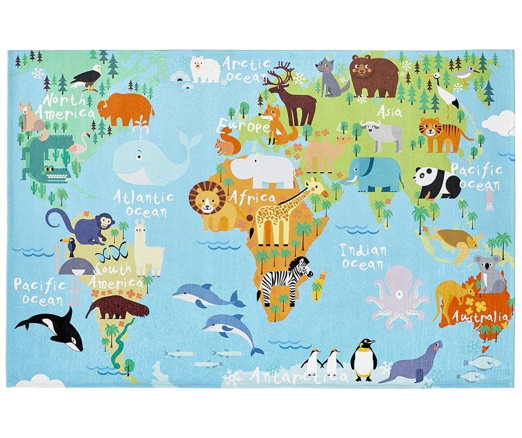 covor, copii, harta, continente, multicolor, animale, girafa, zebra, leu