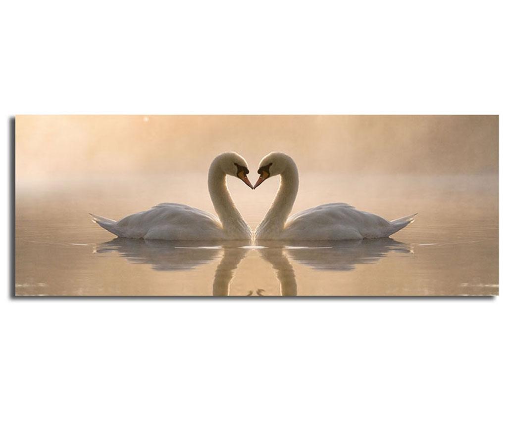 Tablou Swans 30x90 cm - Horizon, Portocaliu imagine