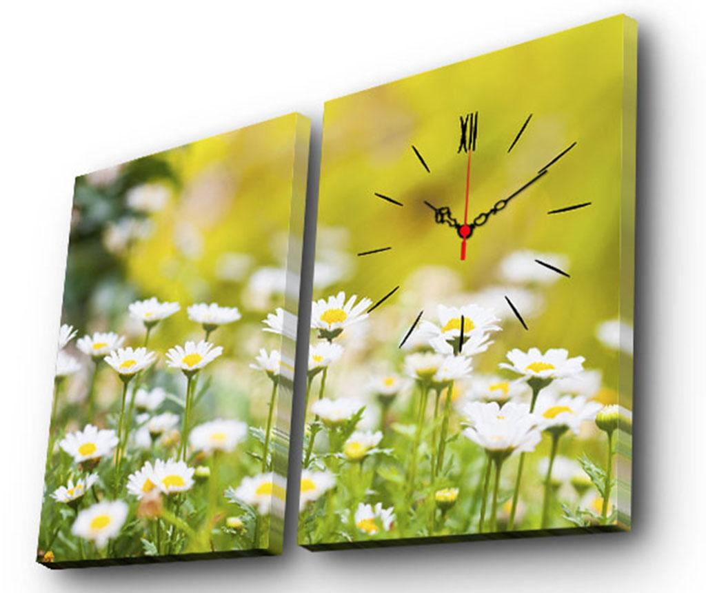 Set 2 tablouri cu ceas Field of Daisies