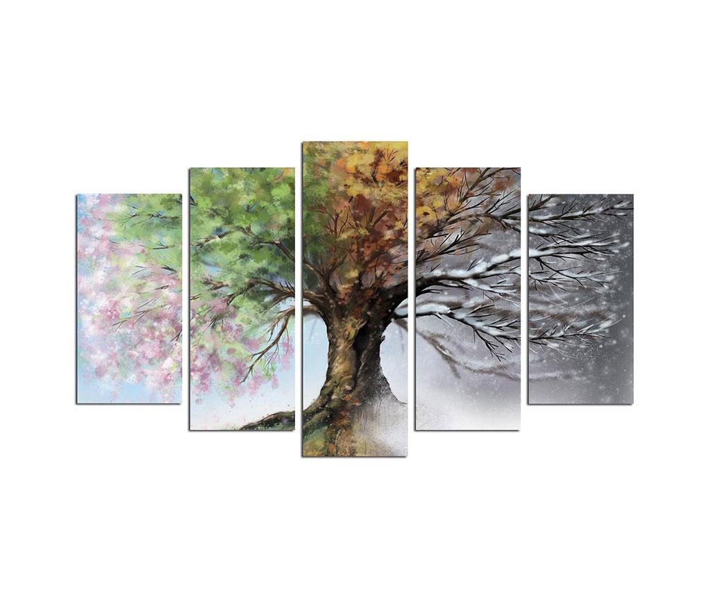 Set 5 tablouri Seasons Tree - Melody, Multicolor imagine