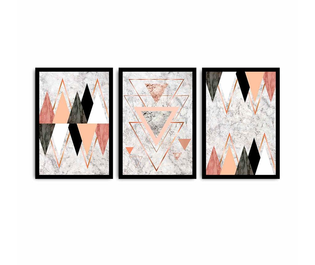 Set 3 tablouri Triangles 35x50 cm
