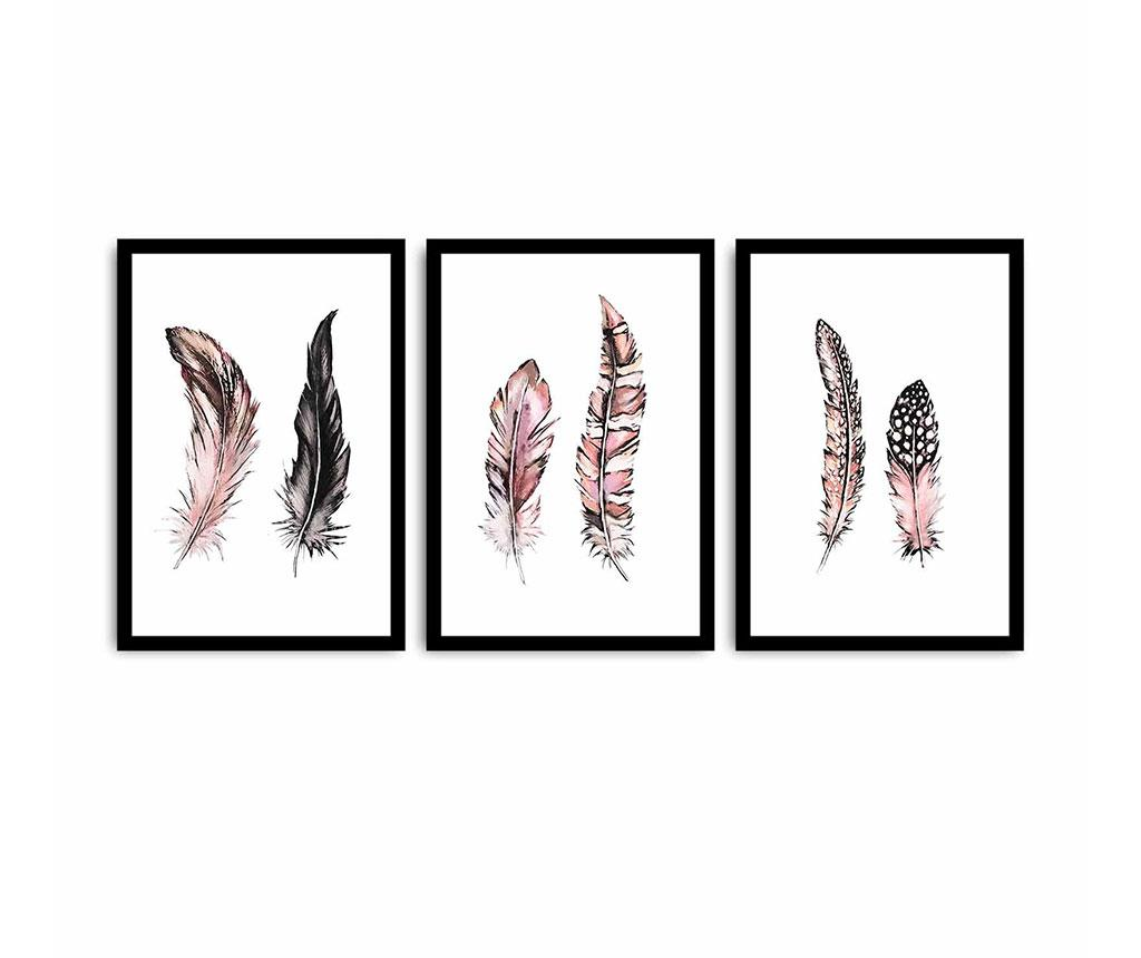 Set 3 tablouri Feathers 35x50 cm
