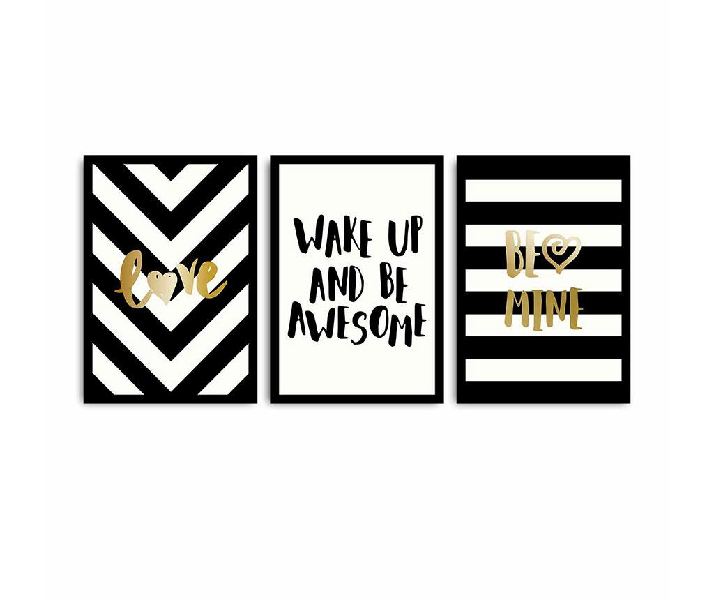 Set 3 tablouri Be Awesome 35x50 cm - Alpha wall, Multicolor imagine
