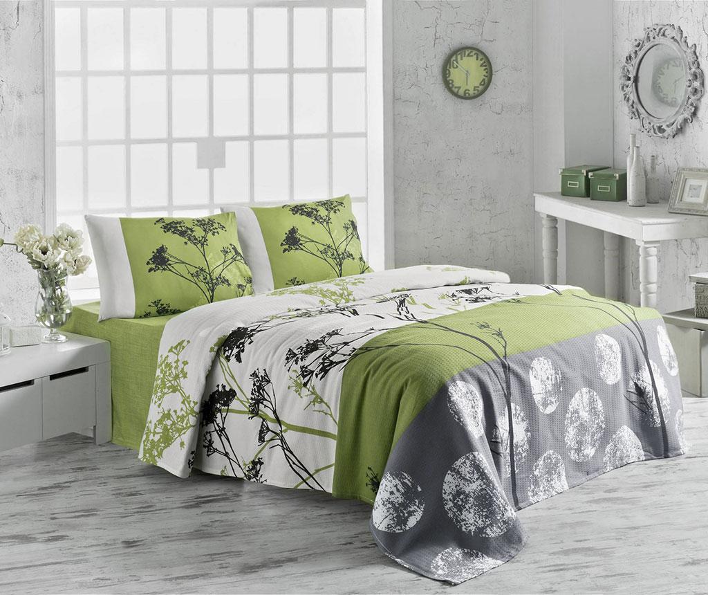 Cuvertura Pique Belezza Green 155x200 cm - Victoria, Verde,Multicolor imagine