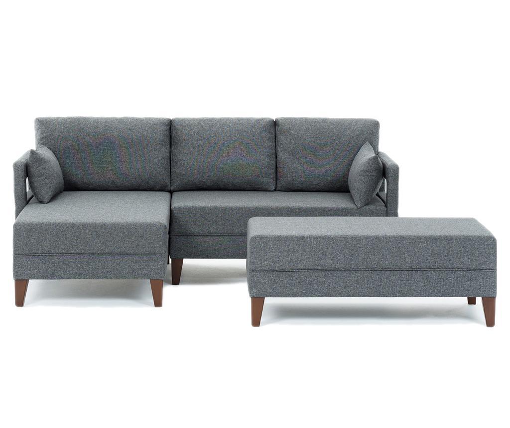 Set coltar stanga si taburet pentru picioare Comfort Grey