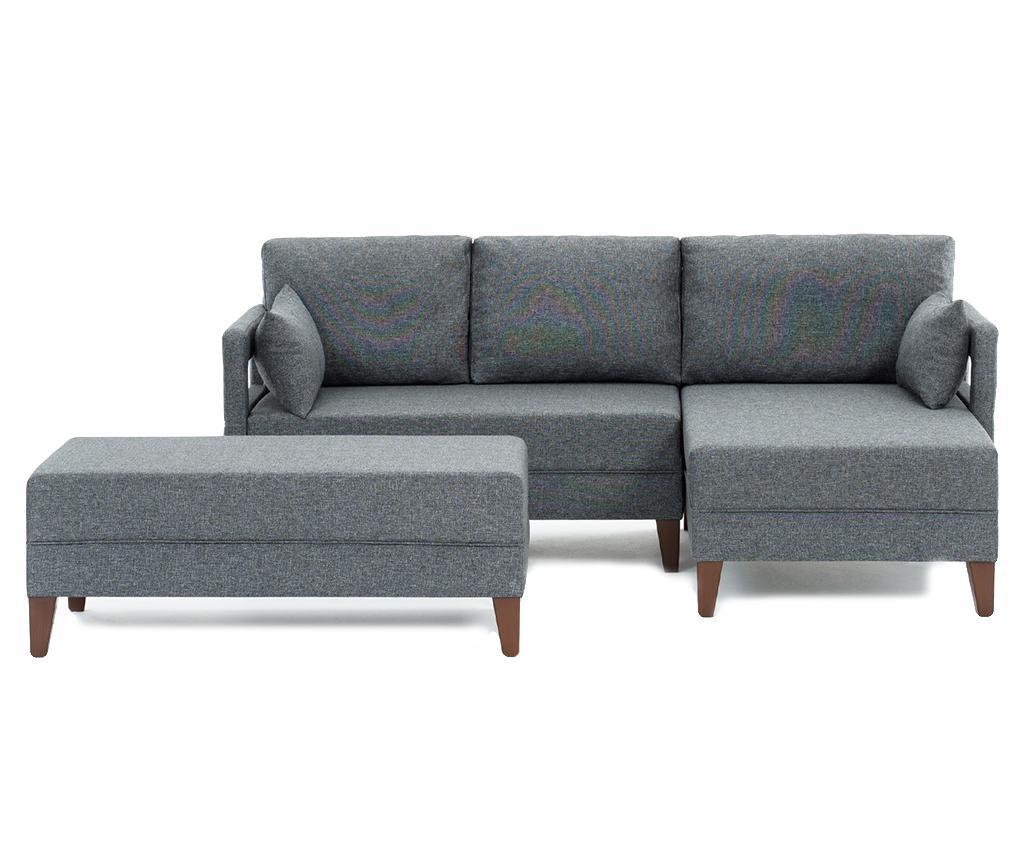Set coltar dreapta si taburet pentru picioare Comfort Grey imagine