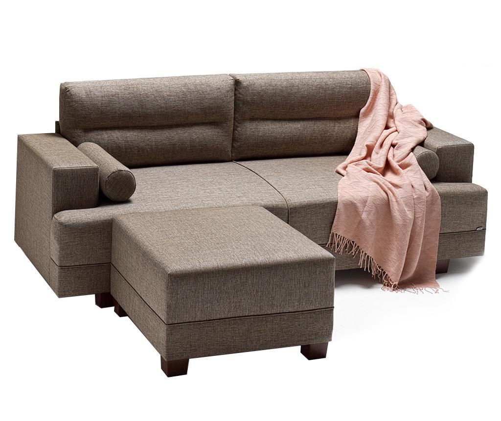 Set canapea 3 locuri si taburet pentru picioare Oslo Brown vivre.ro