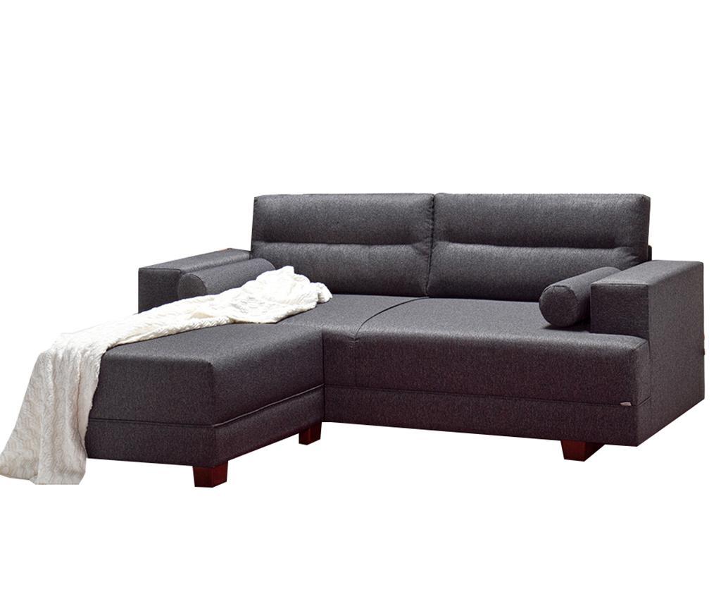 Set canapea 3 locuri si taburet pentru picioare Oslo Grey imagine