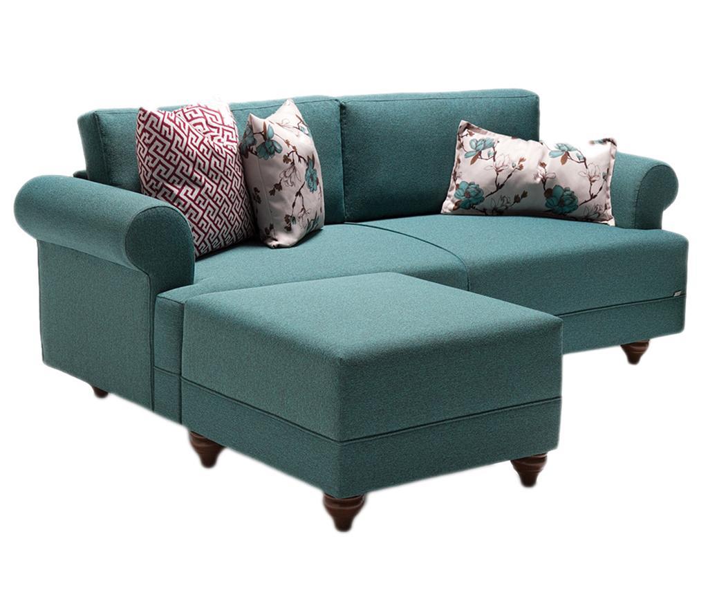 Set canapea 3 locuri si taburet pentru picioare Samara Turquoise vivre.ro