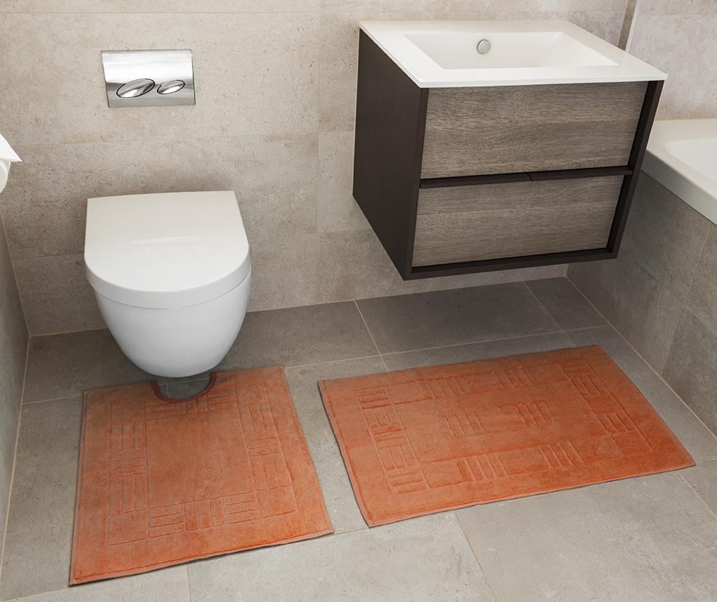 Set prosop de picioare si covoras de baie Reversible Verica Tangerine - Rapport Home, Portocaliu imagine