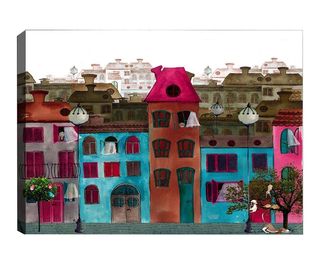Tablou Colourful Houses 40x60 cm - Tablo Center, Multicolor imagine