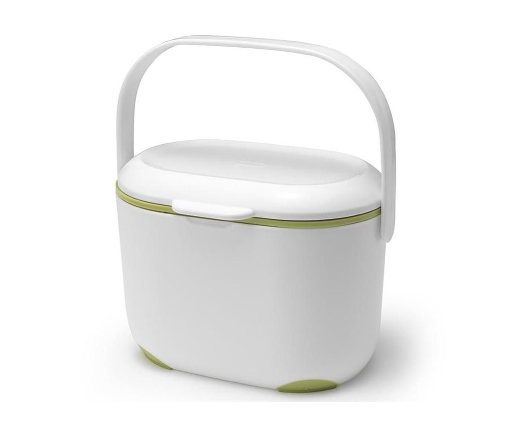 Recipient pentru compost cu capac Caddy White and Green 2.5 L - ADDIS