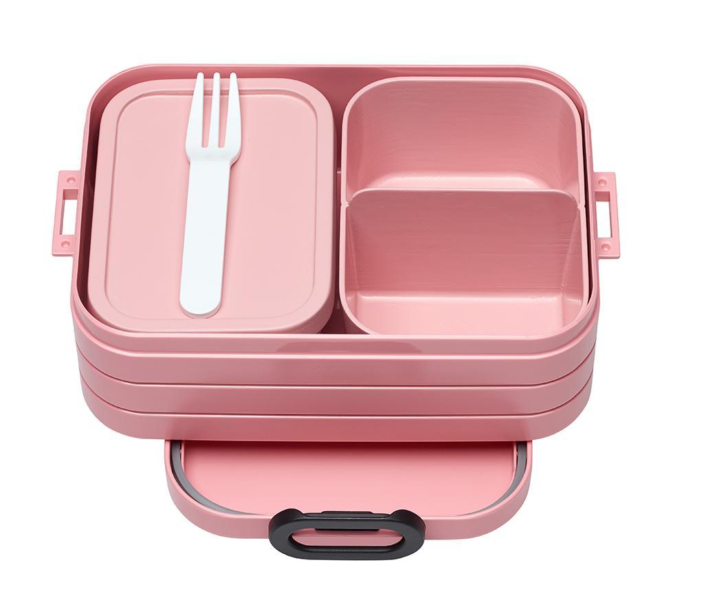 Dóza na oběd s 1 příborem Bento Pink S