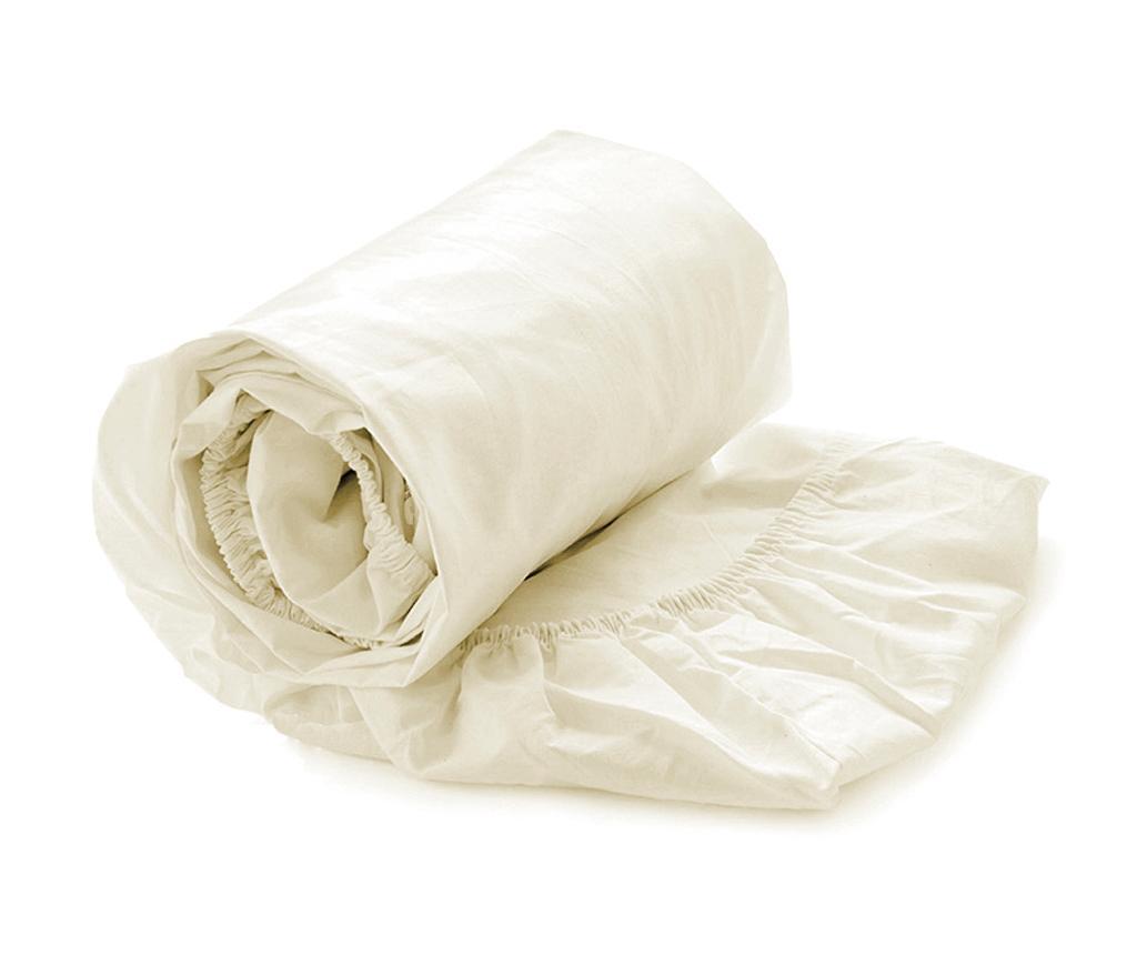 Cearsaf de pat cu elastic Satin Off White 80x200 cm - Heckett & Lane, Alb vivre.ro
