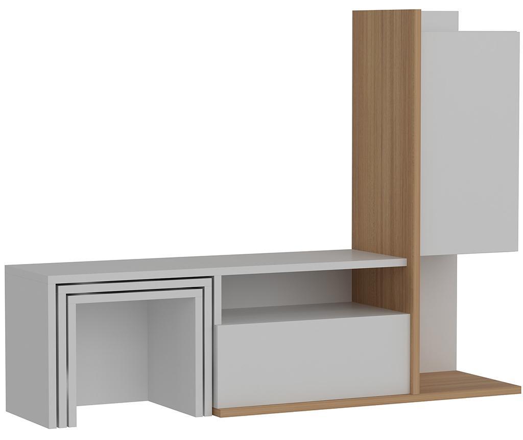 Set comoda TV si 2 masute modulare Begi White Teak - Wooden Art, Alb imagine