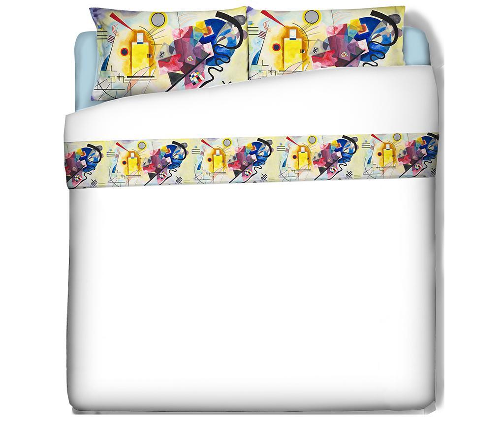 Set cearsaf de pat si fata de perna Single Extra Ranforce Kandinsky - Polo Ovest, Multicolor imagine