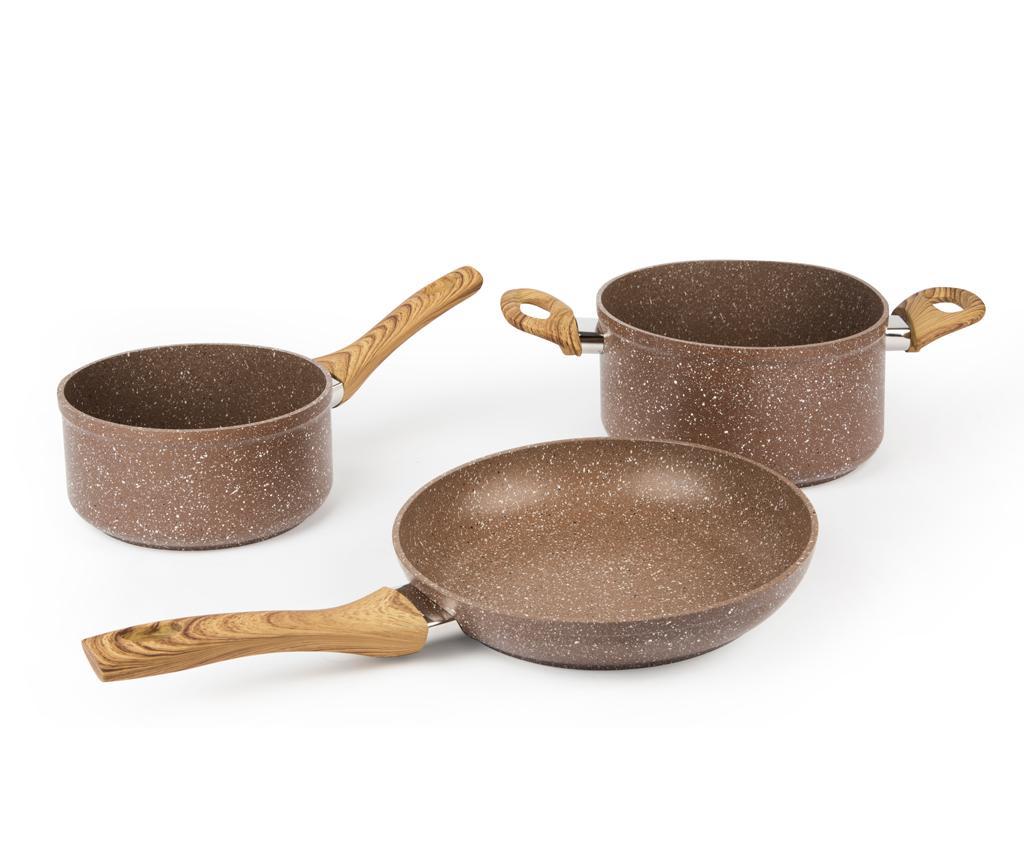 Set vase pentru gatit 3 piese Wood Stone - Excelsa, Maro