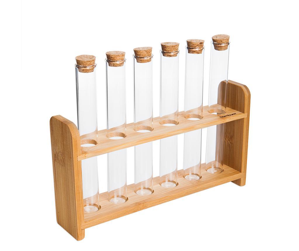 Set 6 recipiente cu dop pentru condimente si suport Nilla - bambum, Crem