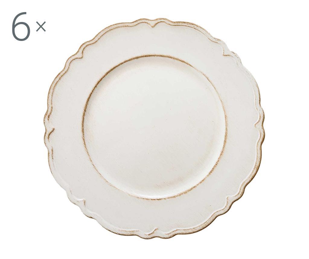 Set 6 platouri Antique Simple White imagine