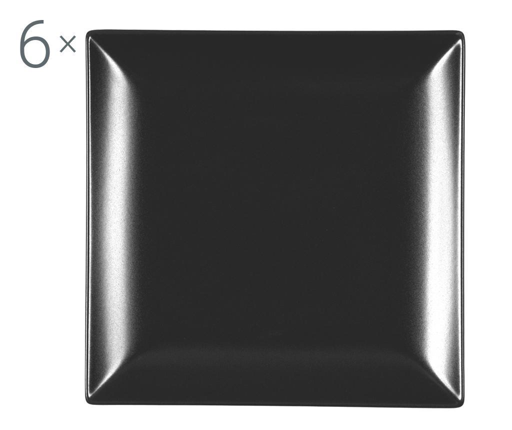 Set 6 farfurii pentru desert Boston Black 18x18 cm - H&H, Negru