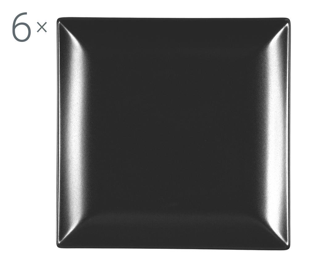 Set 6 farfurii pentru desert Boston Black 16x16 cm - H&H, Negru