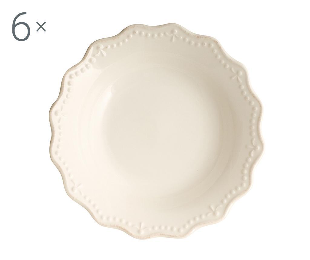 Set 6 farfurii adanci Crown Ivory - H&H, Crem