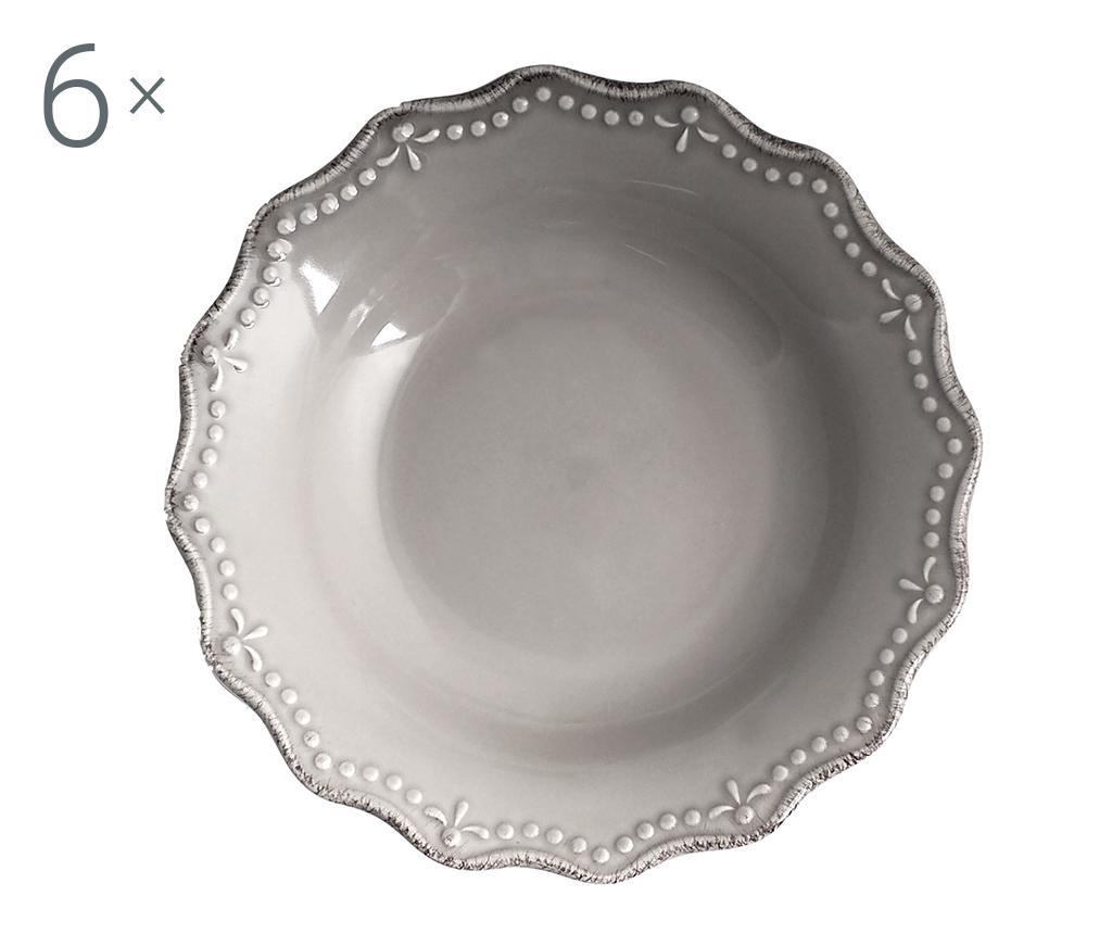 Set 6 farfurii adanci Crown Grey - H&H, Gri & Argintiu