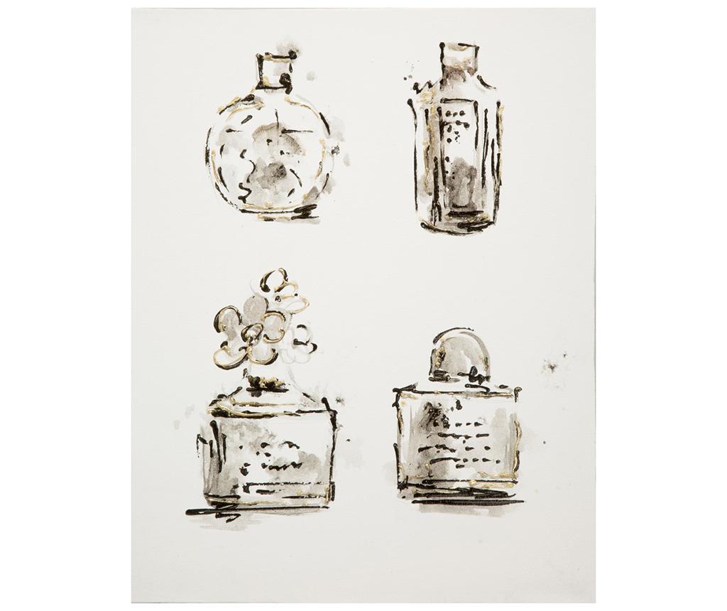 Tablou Fancy Bottles 35x45 cm - Eurofirany, Gri & Argintiu,Negru