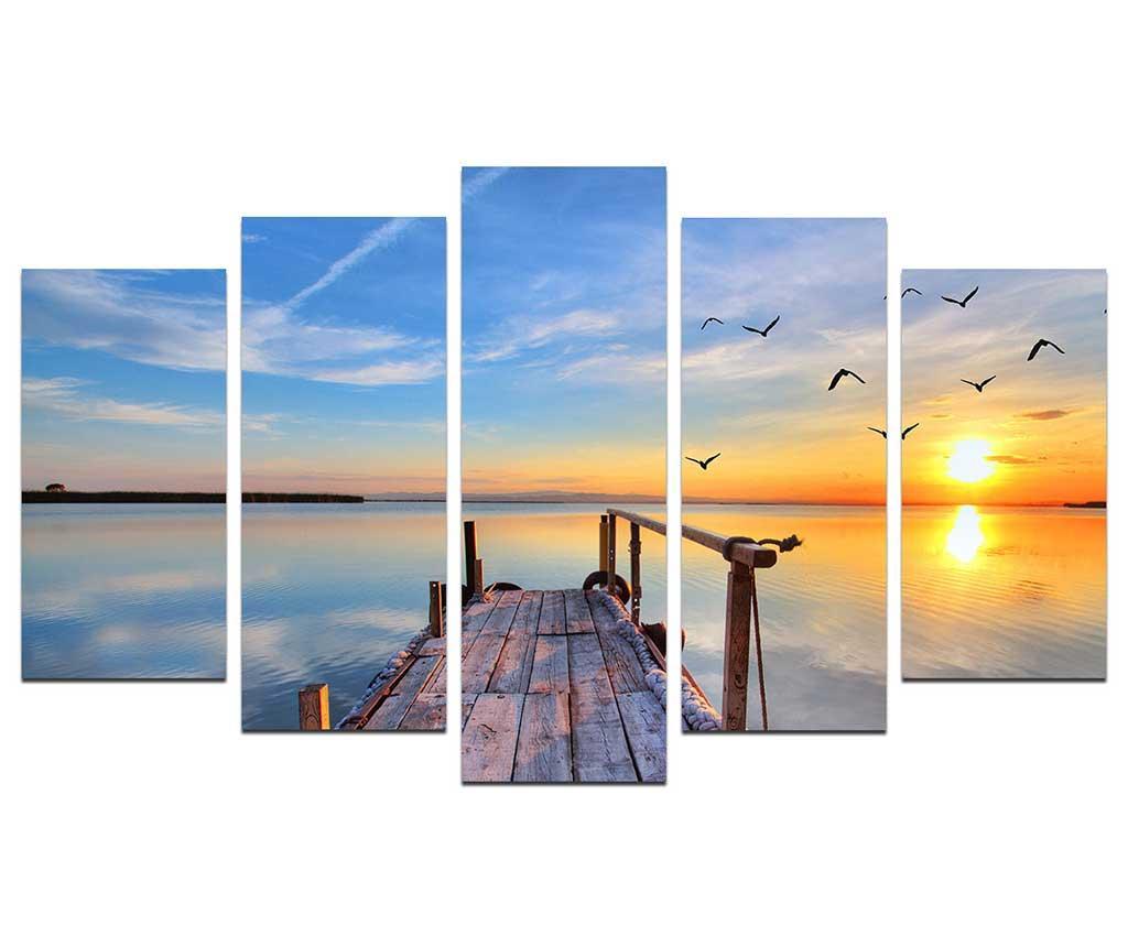 Set 5 tablouri Sun Is Always Rising - Melody, Albastru imagine