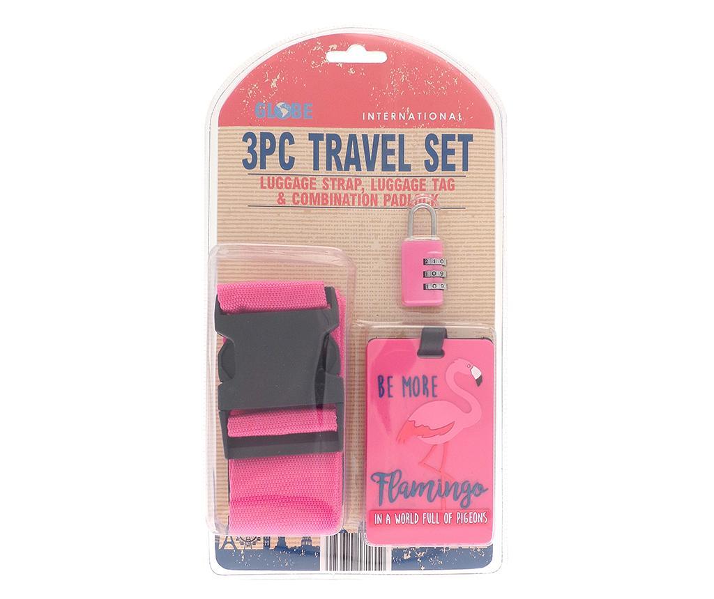 Set curea, eticheta si lacat pentru bagaje Flamingo Pink