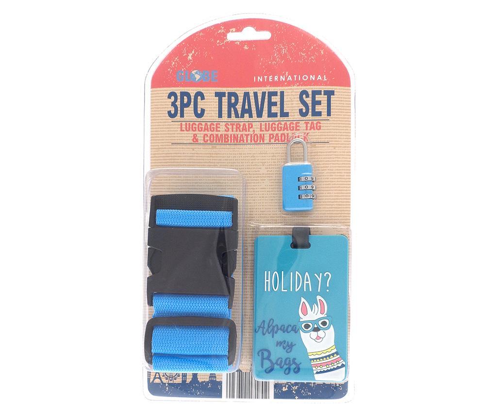 Set curea, eticheta si lacat pentru bagaje Holiday Blue