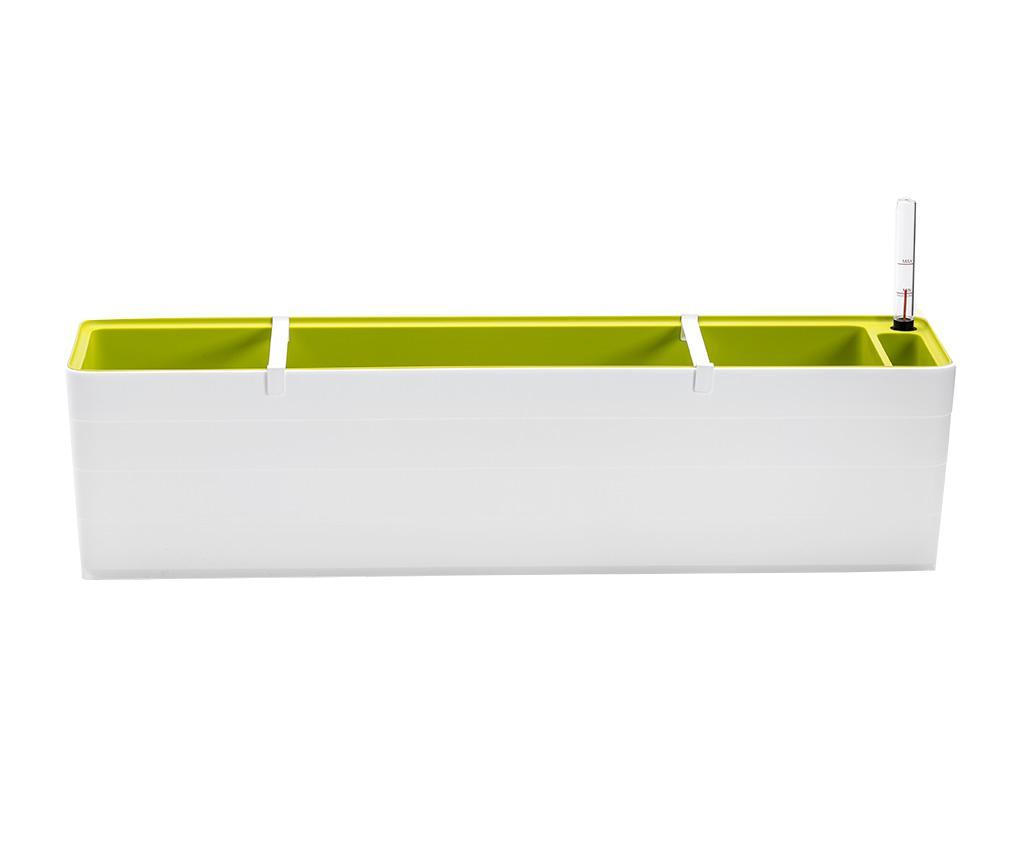 Jardiniera Berberis Duo Long White Green - Plastia, Alb,Verde poza