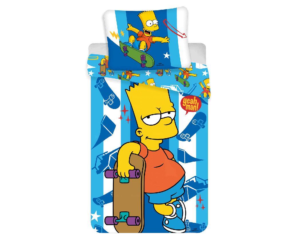 Set de pat Single Ranforce Bart Skater - The Simpsons, Multicolor de la The Simpsons