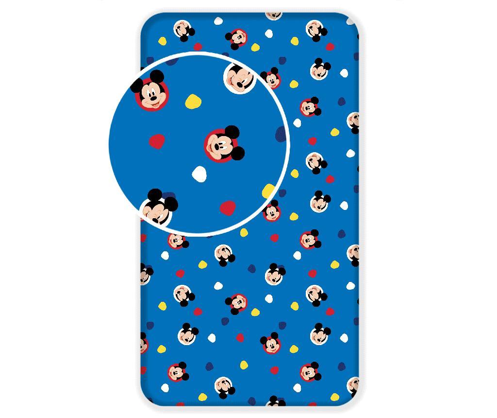 Cearsaf de pat cu elastic Ranforce Mickey Mouse 90x200 cm - Mickey Mouse by Disney, Albastru poza