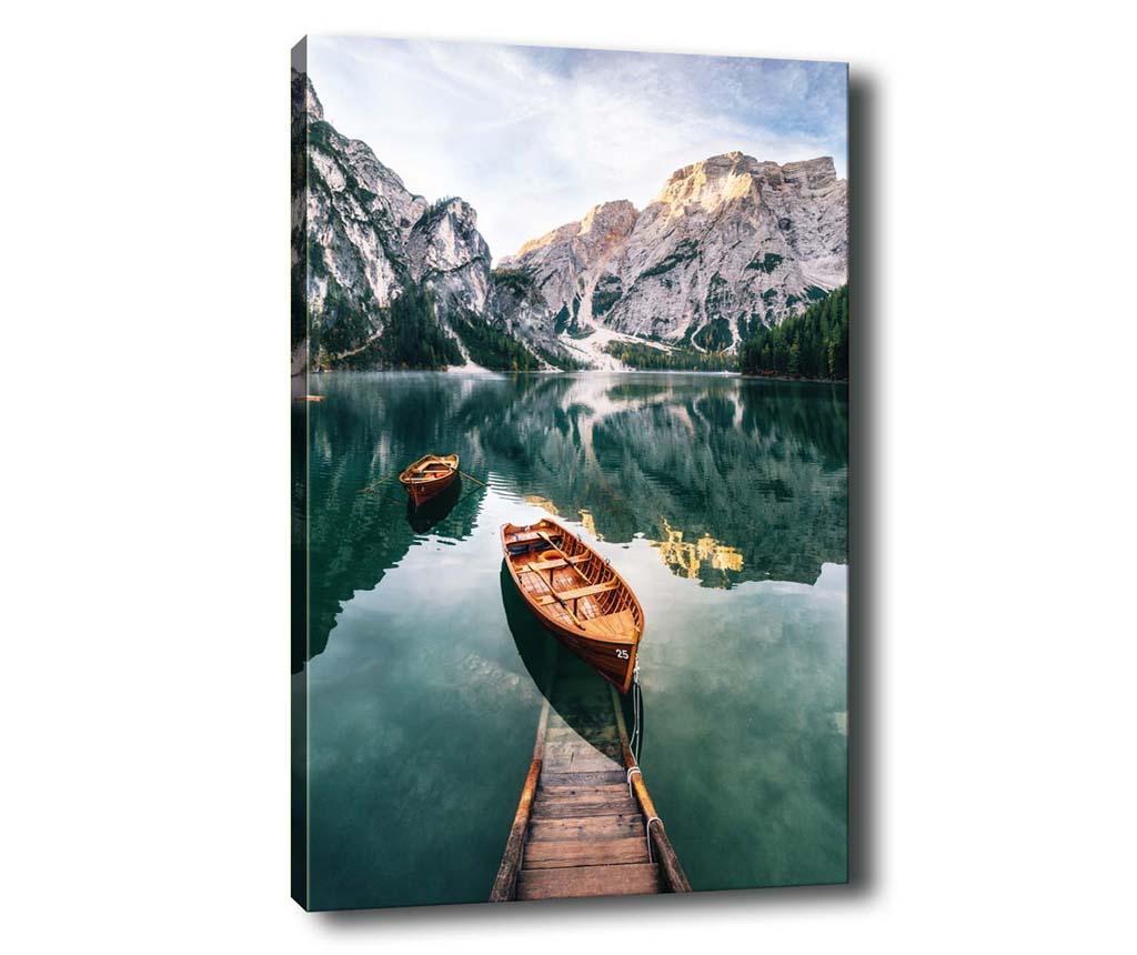 Tablou Boats on Lake 50x70 cm - Tablo Center, Multicolor imagine