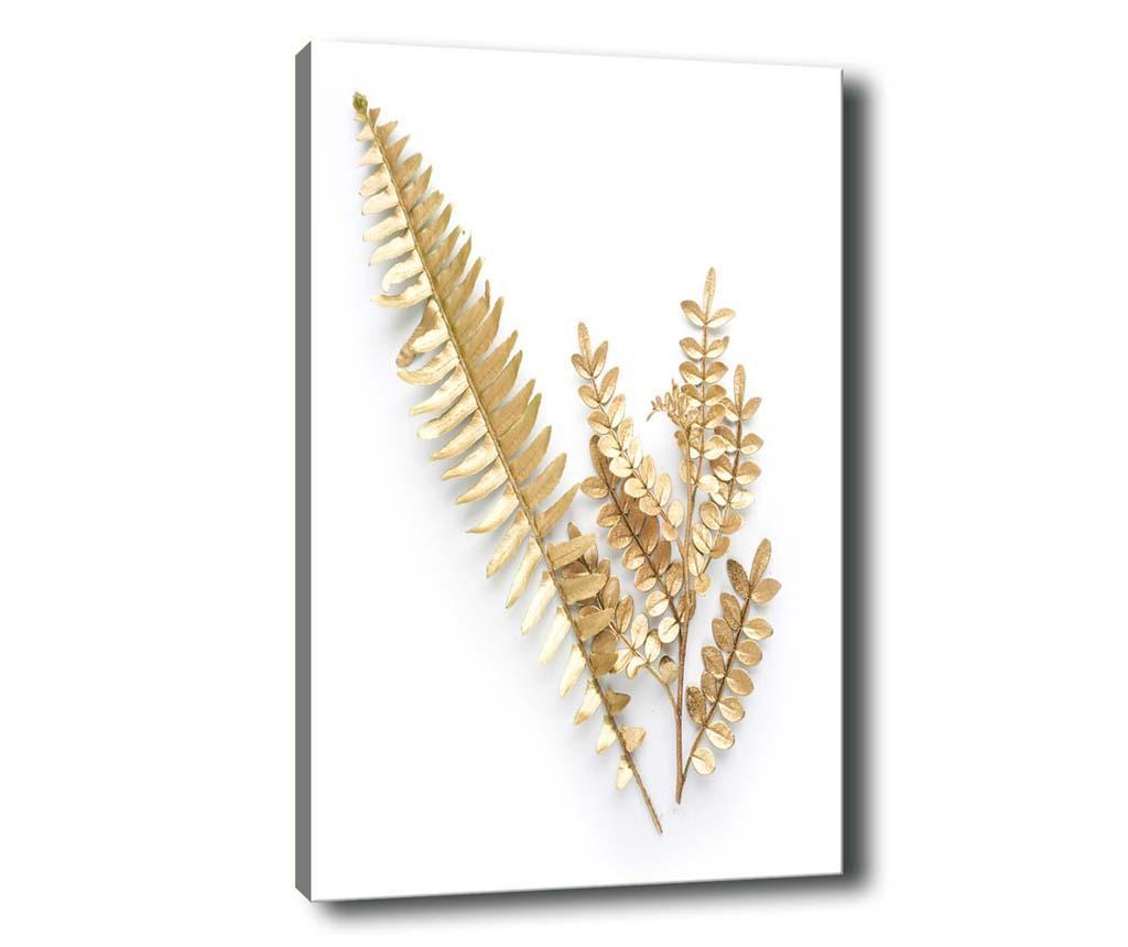 Tablou Golden Leaves 70x100 cm - Tablo Center, Alb,Galben & Auriu imagine