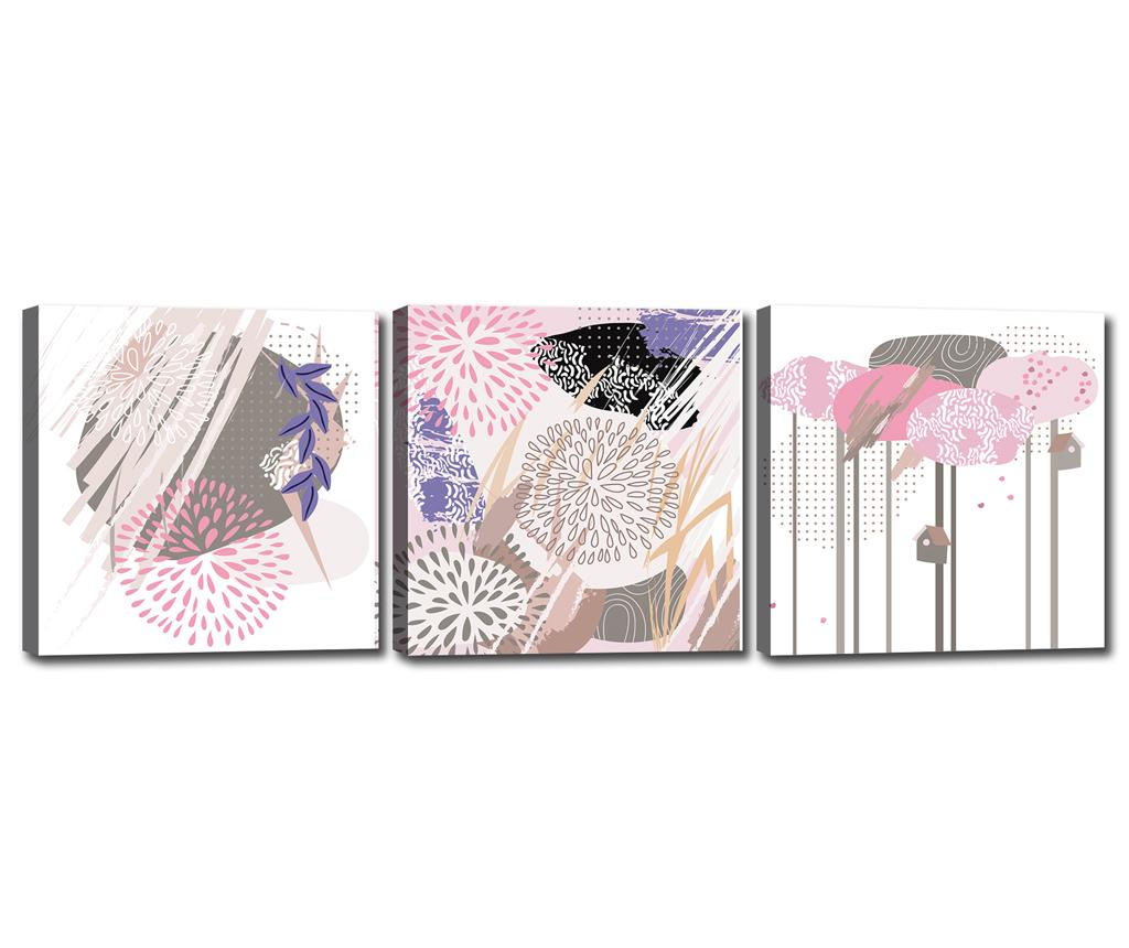 Set 3 tablouri Shapes 30x30 cm - Tablo Center, Multicolor imagine
